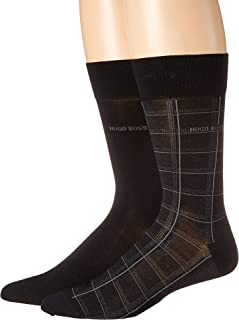 BOSS Hugo Boss Men's 2-Pack Check Mercerized Cotton Socks