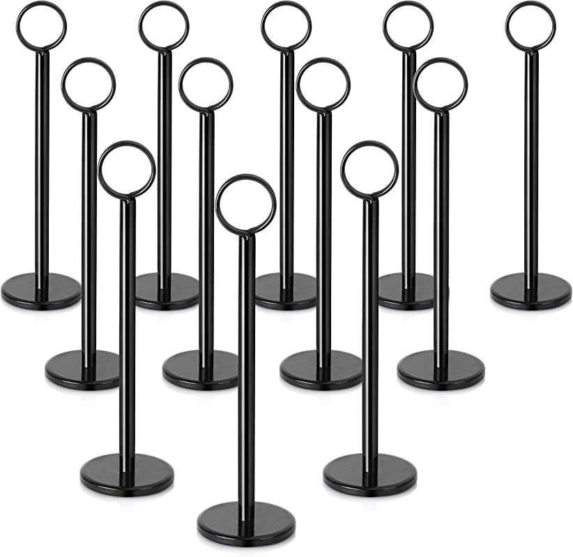 New Star Stainless Steel Table Number Holder Table Number Stand Place Card Holder 8 Inch Set Of 12 Black Finsh