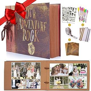 MMTX Album Photo pour Le Scrapbooking (19x30cm, 80 Pages) Traditionnel Mariage - Our Adventure Book, avec Boîte de Rangeme...