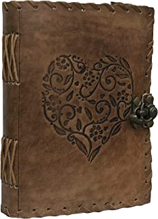 Leather Heart Embossed Journal, Notebook, Leather Journal for Men, Leather Journal for Women, Poetry Journal, Notebooks an...