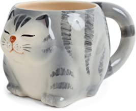 Seto ware Japanese Pottery Mug Cup Chubby Cat Shape Silver Tabby made in Japan (Japan Import) NAM003