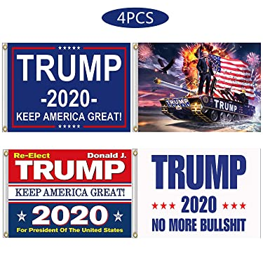 Kithwaro 4 Pieces Donald Trump 2020 Flags, President Donald Trump Tank Flag 2020 Keep America Great Flag with Grommets for US Election Patriotic Outdoor Indoor Decoration Banner, 3x5 Feet