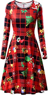 Womens Ugly Christmas Xmas Dress Long Sleeve Casual Aline Party Dress