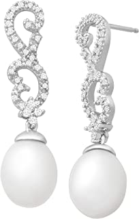 Freshwater Pearl and 1/5 ct Diamond Scrolling Drop Earrings in 14K White Gold