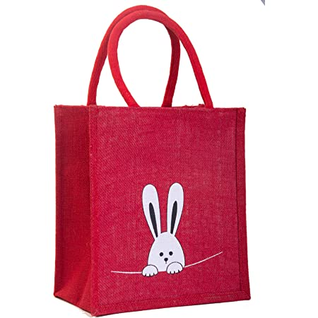 H&B Printed Rabbit Jute Lunch Bags with Zip (Red, Medium Size , 10x11x6 Inch)