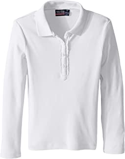Long Sleeve Polo with Ruffle Placket (Little Kids)