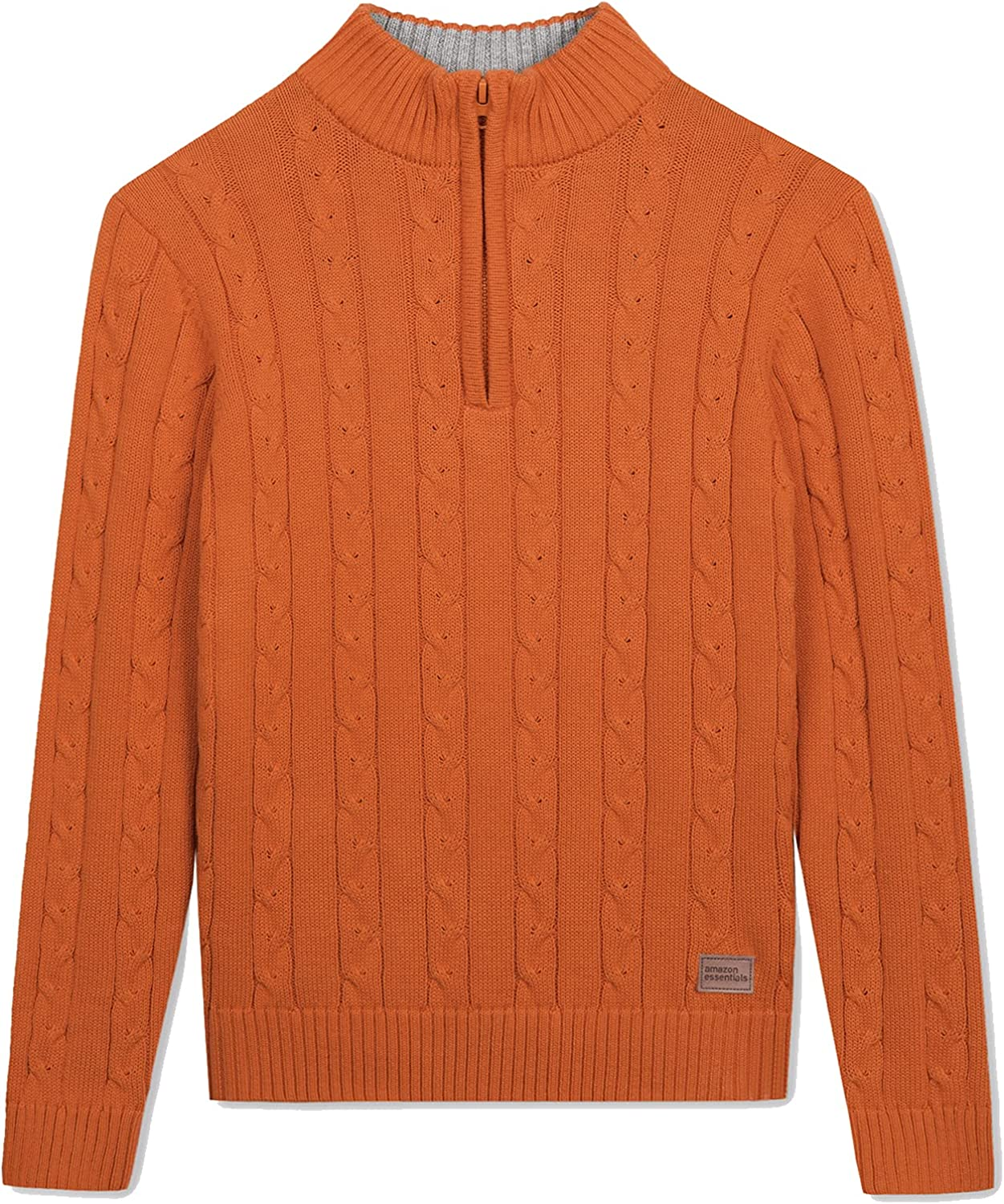 Amazon Essentials 1/4 Zip Sweater Casual Cable Knit Long Sleeve Pullover Sweatshirt for Boys Orange 7-8Y