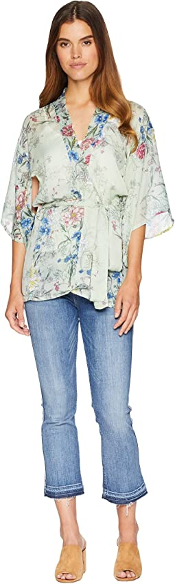 Linear Floral Short Belted Kimono