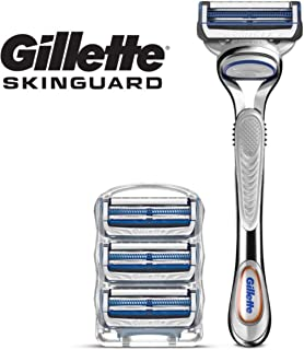 Gillette SkinGuard Men's Razor for Sensitive Skin, Handle + 4 Refills
