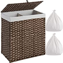 Greenstell Laundry Hamper with 2 Removable Liner Bags, Divided Clothes Hamper, 110L Handwoven Synthetic Rattan Laundry Bas...