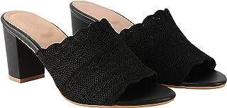 Do Bhai Women Synthtic Material Back Open Mule Block Heel Fashion Sandal (Shalu)