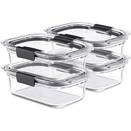 Rubbermaid Brilliance Glass Storage 3.2-Cup Food Containers with Lids, 4-Pack (8 Pieces Total), BPA Free and Leak Proof, Medium, Clear