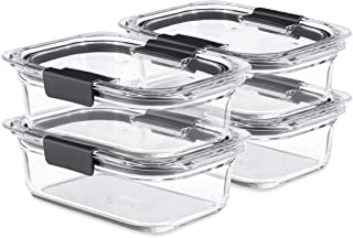 Rubbermaid Brilliance Glass Storage 3.2-Cup Food Containers with Lids, 4-Pack (8 Pieces Total), BPA Free and Leak Proof, M...