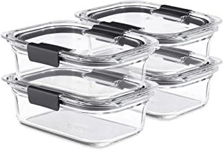 Rubbermaid Brilliance Glass, 3.2-Cup Lids, 2-Pack (4 Pieces Total) Food Storage Container, BPA Free and Leak Proof, Medium...