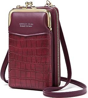 Handy Umhängetasche Damen, Leder Handytasche zum Umhängen Schultertasche Klein Geldbörse Brieftasche mit Kartenfächer Vers...