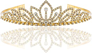 Luxe scintillant Tiara Couronne Couronne Cristal Strass Mariage Communion Mariée Feuille
