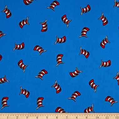 Kaufman The Cat In The Hat Striped Hats Blue Quilt Fabric By The Yard