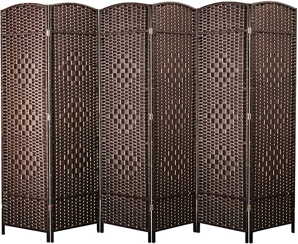 Cocosica Weave Fiber Room Divider Natural Fiber Folding Privacy Screen With Stainless Steel Hinge 6 Panel Room Screen Divider Separator For Decorating Bedding Dining Study And Sitting Room