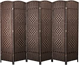 cocosica Weave Fiber Room Divider, Natural Fiber Folding Privacy Screen with Stainless Steel Hinge & 6 Panel Room Screen Divider Separator for Decorating Bedding, Dining, Study and Sitting Room