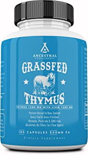 Ancestral Supplements Grass Fed Thymus Extract (Glandular) � Supports Immune, Histamine, Allergy Health (180 Capsules)