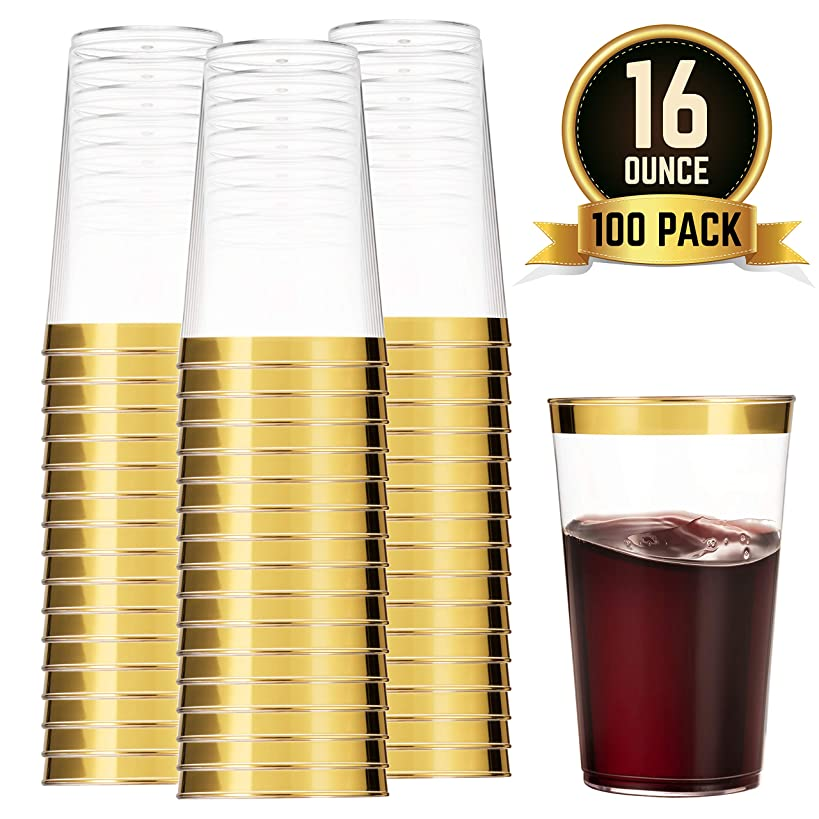 100 Gold Plastic Cups 16 Oz Clear Plastic Cups Tumblers Gold Rimmed Cups Fancy Disposable Wedding Cups Elegant Party Cups with Gold Rim