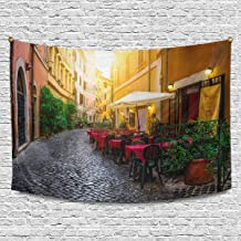 INTERESTPRINT European Italian City Cozy Old Street Courtyard in Rome Wall Hanging Tapestry Art Home Decorations for Living Room Bedroom Dorm Decor, 90W X 60L Inch