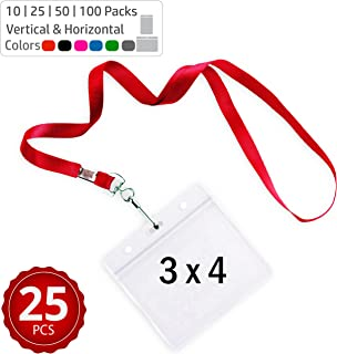 Durably Woven Lanyards & 3 x 4 Horizontal ID Badge Holders ~Premium Quality, Waterproof & Dustproof ~ for Moms, Teachers, Tours, Events, Businesses, Cruises & More (25 Pack, Red) by Stationery King