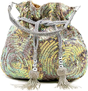 Odette Women's Lustrous Silver Acrylic Potli Handbag