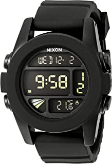 Nixon Unit A197000-00. Black Men's Digital Watch. (44mm. Digital LCD Watch Face. 24mm Black Band)