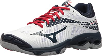 Mizuno Wave Lightning Z4 Volleyball Shoes, White/Navy/red, Women's 8 B US