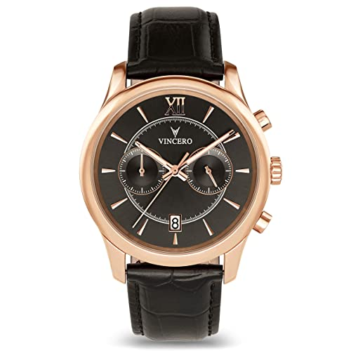 Vincero Luxury Mens Bellwether Watch with Leather Band — 43mm Chronograph Watch —Japanese Quartz Movement
