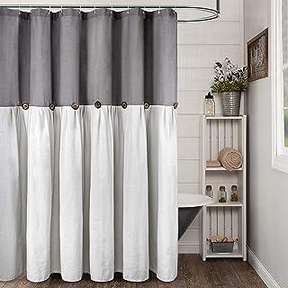 "Reisen Linen Farmhouse Shower Curtain Button Gray and Cream Shower Curtains for Bathroom, 72"" x 72"""