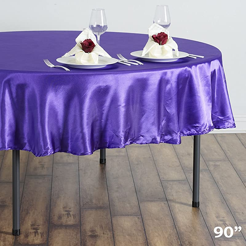BalsaCircle 90 Inch Purple Satin Round Tablecloth Table Cover Linens For Wedding Table Cloth Party Reception Events Kitchen Dining
