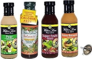 Walden Farms Balsamic Vinaigrette,Fruit Balsamic,Honey Balsamic,Pear/White Balsamic Salad Dressing 4 Pack