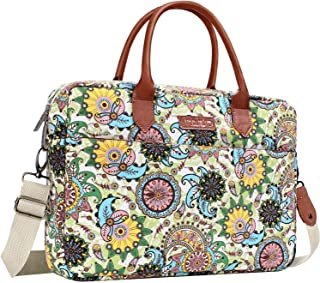 MOSISO Laptop Shoulder Bag Compatible 14-15.6 Inch 2018 2017 2016 MacBook Pro Touch Bar A1990 A1707, Ultrabook Tablet, Canvas Bohemian Style Carrying Briefcase Handbag Sleeve Case, Green Base Paisley