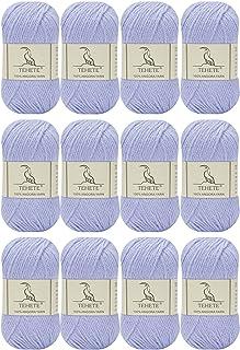 TEHETE 100% Angora Fil de Laine à Tricoter, Pelote de Laine à Crochet, 4 Plis, 50g x 12 Pelotes, Doux Luxueux