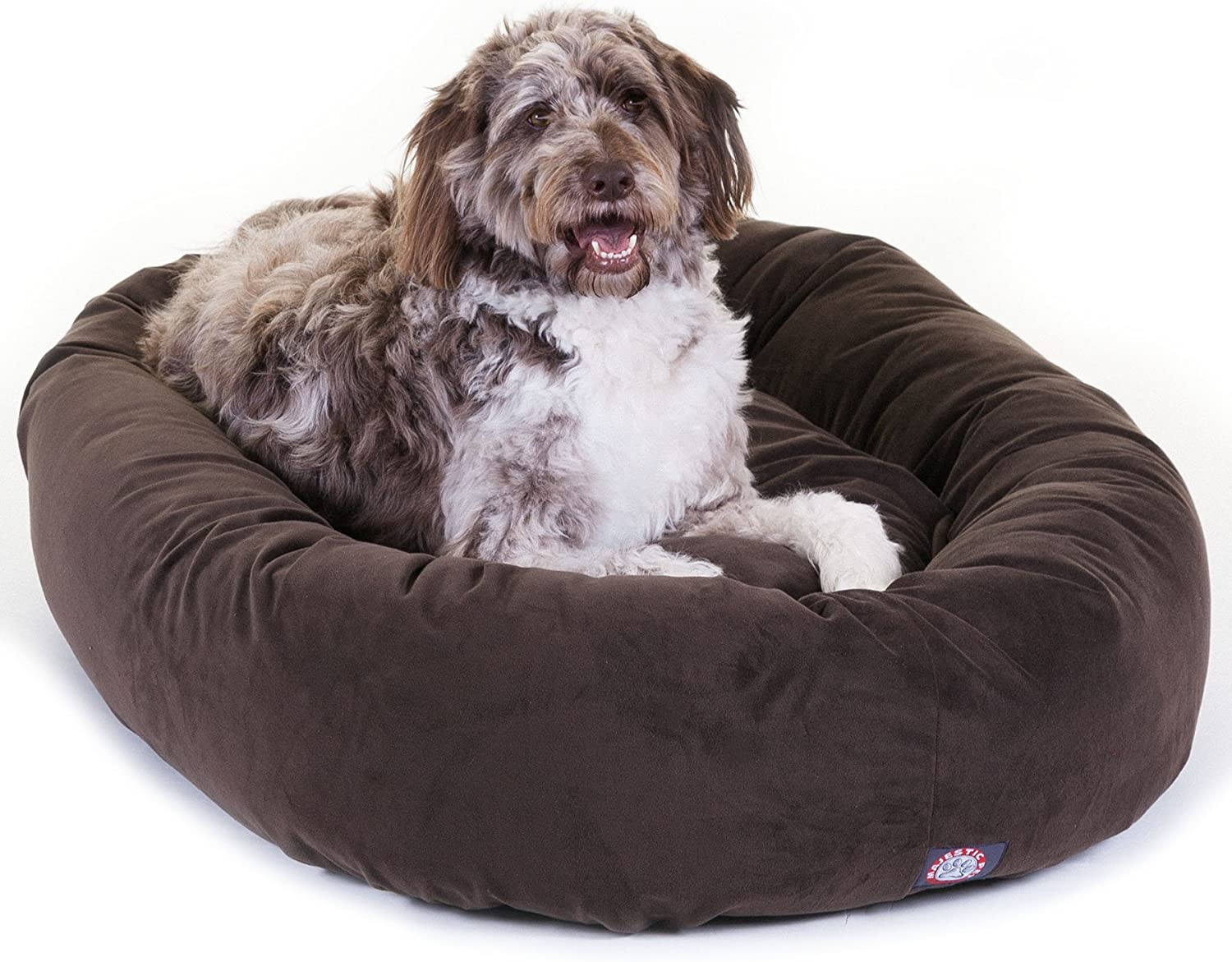 Majestic Pet 52 Inch Chocolate Suede Bagel Dog Bed By Products