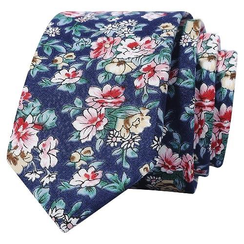 a6e103101e75 Kingdom Secret Men's Skinny Floral Tie Cotton Necktie. Great for Wedding  Groom Groomsmen Missions Dances