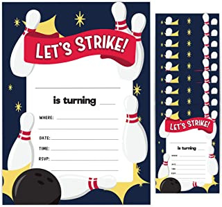 Bowling 1 Happy Birthday Invitations Invite Cards (10 Count) With Envelopes Boys Girls Kids Party (10ct)