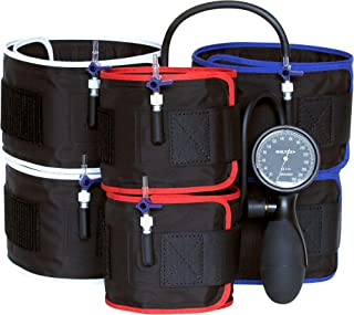 Blood Flow Restriction (BFR) Training Therapy Occlusion Restriction Cuffs with mmHg Monitor and Pump
