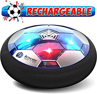 ActiveMVP Kids Toys Hover Soccer Ball - Rechargeable Indoor Air Soccer Ball Floating LED Light Up, Power Kick Disc Fun with Foam Bumper (No AA Battery Needed) For Boys Girls Age 3 4 5 6 7 8 9 10 11-16