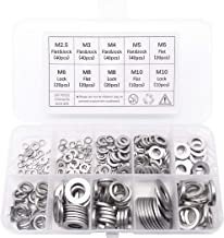 Box Packing MeterMall 580pcs 304 Stainless Steel Flat Washers Kit for M2 M2.5 M3 M4 M5 M6 M8 M10 M12