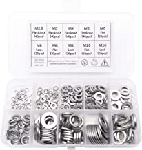 QTEATAK 260 Pcs 7-Size 304 Stainless Steel Flat Washer & Lock Washer Assortment Set (Size Included: M2.5 M3 M4 M5 M6 M8 M10)