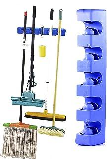 Wall Hanger Storage Mounted Holder Organizer Rack Broom Mops Kitchen Tools Brush Holder (Blue)