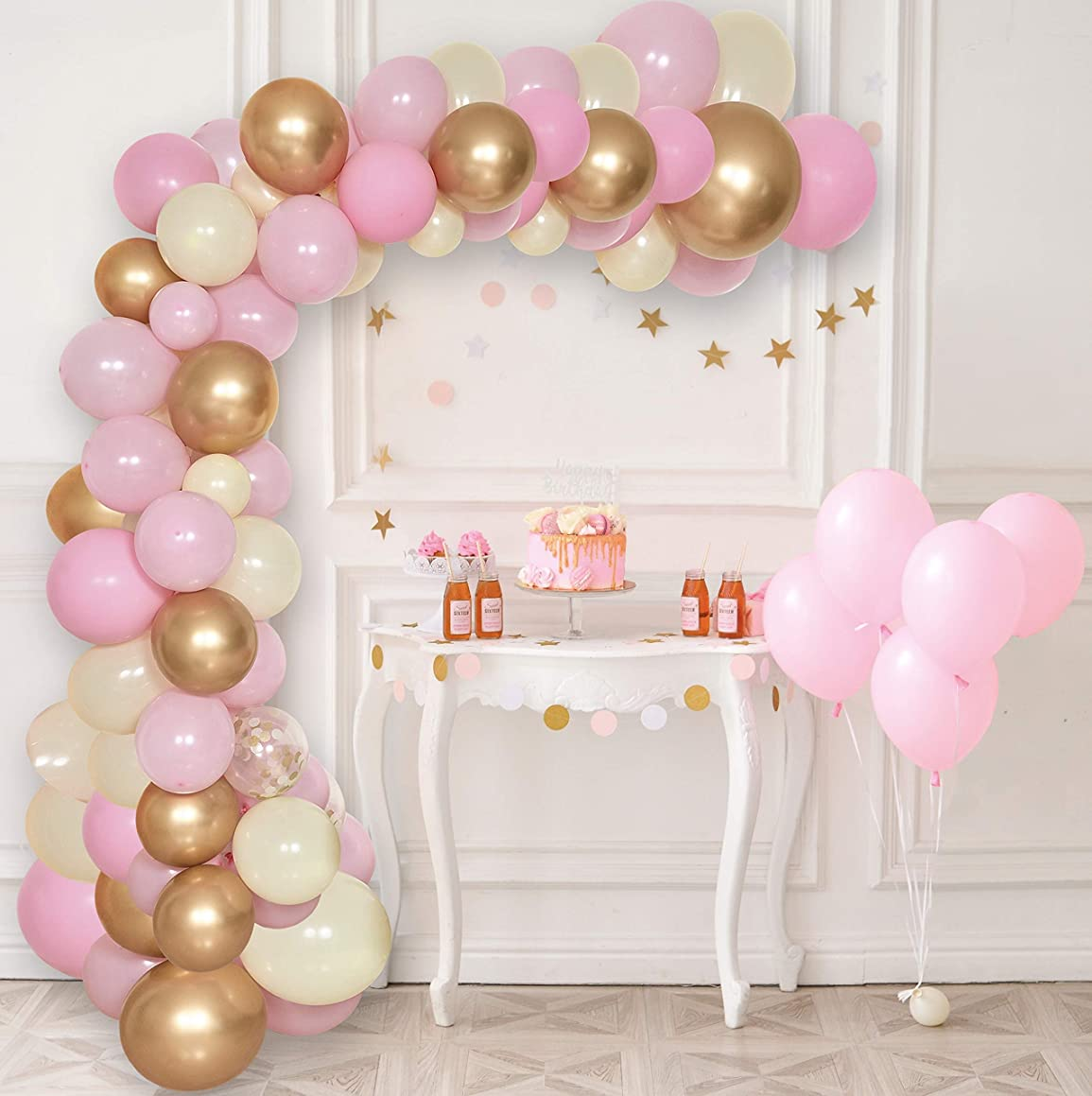 Balloon Arch & Garland Kit | 60 Gold, Pink, Yellow & Confetti Balloons | 16' Decorating Strip Tape | Glue Dots | Tying Tool | DIY Birthday, Wedding, Baby Shower, Graduation, Anniversary & Party
