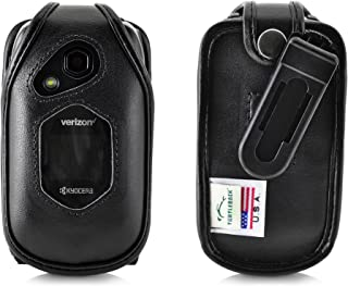 Turtleback Fitted CASE for Kyocera DuraXV LTE Verizon Flip Phone Black Leather with Ratcheting Removable Belt Clip Holster FITS ONLY Kyocera DuraXV LTE E4610 Mil Spec 810G PTT