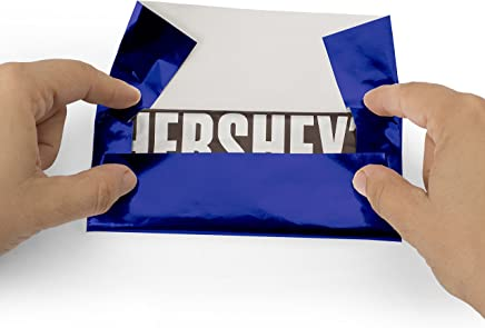 """Foil Wrapper (Dark Blue) - Pack of 100 Candy Bar Wrappers with Thick Paper Backing - Folds and Wraps Well - Best for Wrapping 1.55Oz Hershey/Candies/Chocolate Bars/Gifts - Size 6"""" X 7.5"""""""
