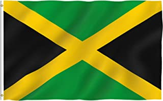 Anley Fly Breeze 3x5 Foot Jamaica Flag - Vivid Color and UV Fade Resistant - Canvas Header and Double Stitched - Jamaican National Flags Polyester with Brass Grommets 3 X 5 Ft