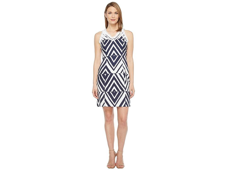 Taylor Cotton Jacquard Dress (Navy/Ivory) Women