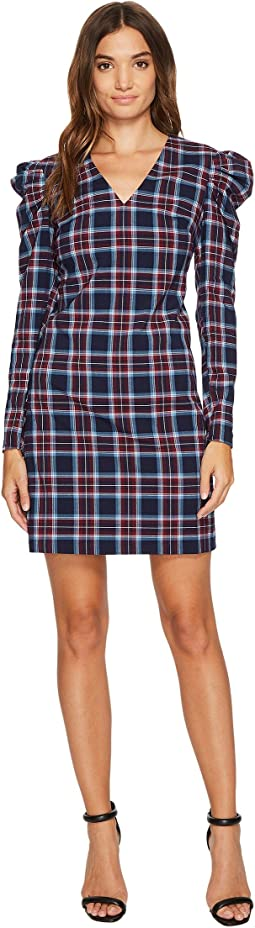 Joelle V-Neck Shift Dress w/ Puff Sleeve